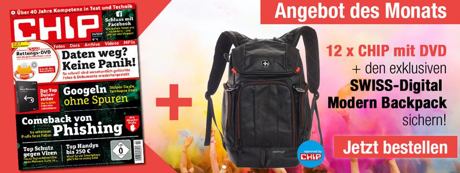 CHIP mit DVD Angebot des Monats + Modern Backpack