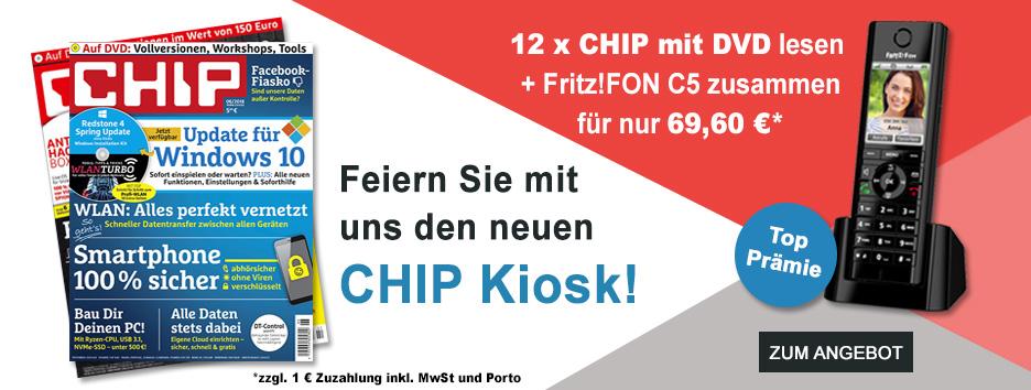 CHIP mit DVD + Fritz!FON C5 für nur 69,60€!