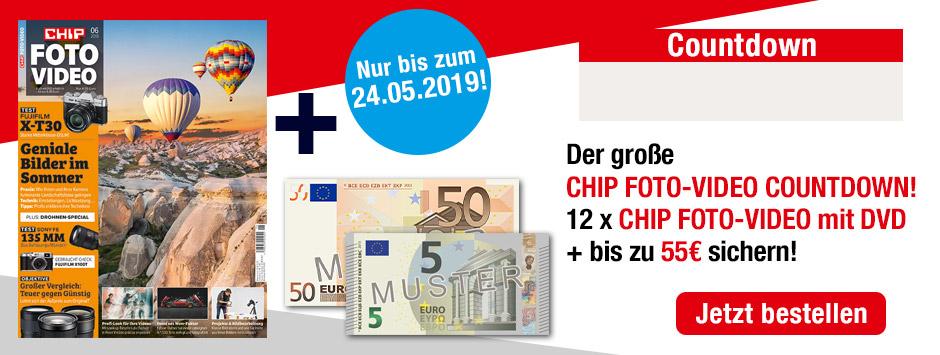 CHIP FOTO-VIDEO mit DVD Countdown 1 Jahr + 55€ Verrechnungsscheck